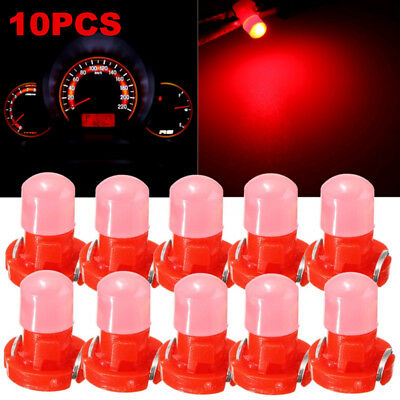 10Pcs Red T3 Neo Wedge LED Bulbs Cluster Instrument Dash Climate Base Lamp Light