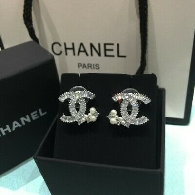 5a54125f8 AUTHENTIC CHANEL CC Classic Logo Crystal Stud Earrings - $299.00 ...