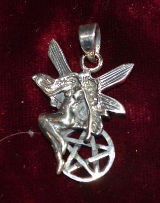 Small Sterling Silver Fairy & Pentacle Pendant/Charm  Pagan