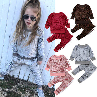 AU Toddler Kids Baby Girls Infant Clothes T-shirt Top Pants Outfit Set Tracksuit