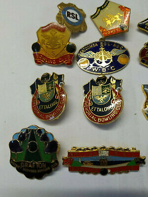 16 RSL Many Clubs Metal Bowling Badges, Pins, Medallions Non Military Services