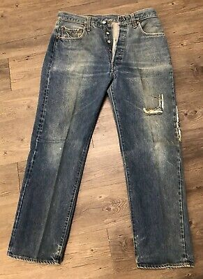 Vintage 70s Levis 501 Button Fly Redline Selvedge Jeans Size 32 X 30 Made In USA