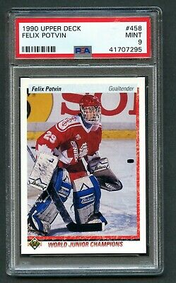 1990 Upper Deck #458 Felix Potvin Toronto Maple Leafs RC PSA 9 MINT