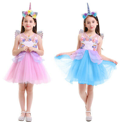 Flower Girl Unicorn Cosplay Costume Kid Birthday Party Fancy Dress Outfits+Wings