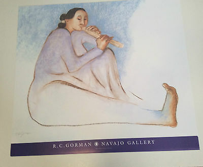"RC GORMAN SIGNED Poster, ""THE FLUTE PLAYER"" 2001  Size is 27"" X 30"""