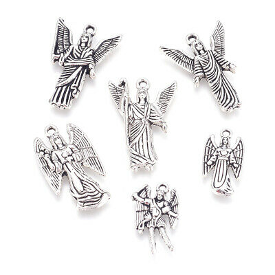 30pcs Tibetan Alloy Angel Pendants Carved Antique Silver Dangle Charms 19.5~28mm