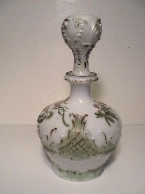 Dithridge Milk Glass Victorian rose water decanter bottle with stopper Antique