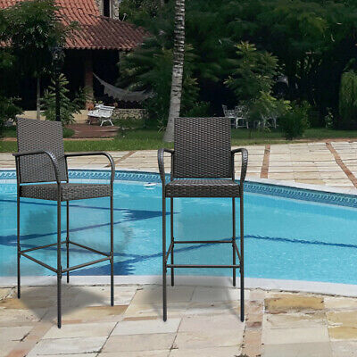 2pcs High Bar Chairs Brown Gradient PE Rattan/ Iron Garden Patio Family Set