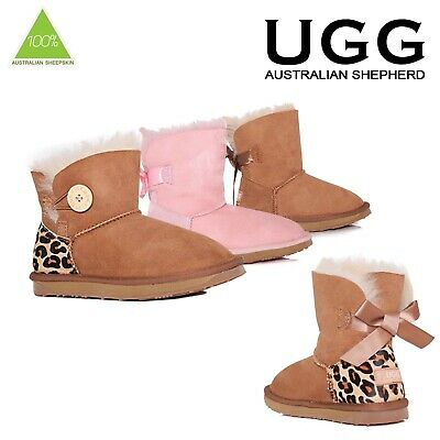 Ugg Boots Kids Child Sheepskin Genuine Wool Mini Bow Chestnut Pink Size 6-2