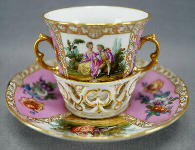 Late 19th Century KPM Berlin Dresden Pink Courting Couple Floral Trembleuse Cup