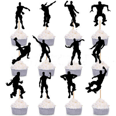 15X Happy Birthday Fortnite Cake Picks Cupcake Toppers Party Flag DIY Decoration