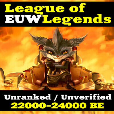 League Of Legends Account LOL Euw Smurf 24,000 BE IP Unranked Level 30