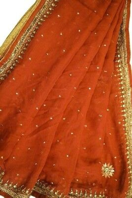Long Vintage Indian Antique Embroidered Dupatta Craft Fabric Veil Stole LD2926
