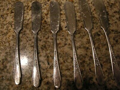 Antique WM Rogers & Son AA IS 1941 Spreader Knives 6 ea GARDENIA Slvr Plate Used