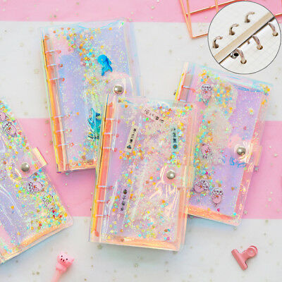 A6 PVC Holographic binder loose notebook diary leaf note book office supplies FO