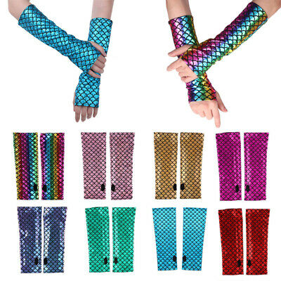 1 Pair Mermaid Fish Scale Fingerless Long Gloves Arm Sleeves Fancy Dress Costume