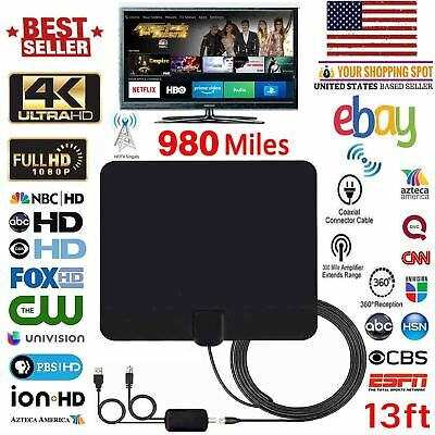 Amplified HD TV Antenna Free Channels 13ft Cable HDTV 4K VHF/UHF Fox 980 miles
