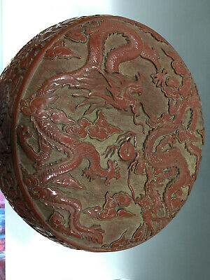 Delicate Old Chinese Ming Dynasty lacquerware Dragon Box