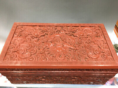 Delicate Old Chinese Qing Dynasty lacquerware Dragon Box