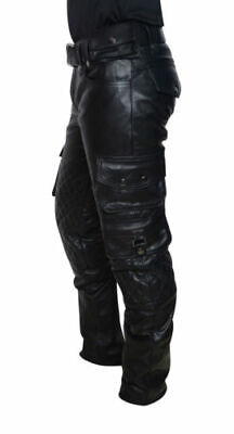 Men's Real Leather Pants Cargo Quilted Panel Trousers Leder Gay Breeches BLUF
