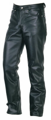 Mens Leather Jeans Pants Trouser 5 Pockets Cow Leather Black Breeches BLUF Leder