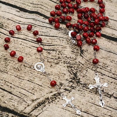 Christ Religious Red Wooden Rosary Beads Chain Cross  Bracelet Jewelry Necklace