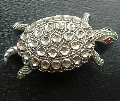 Lovely vintage art deco fx marcasite turtle brooch red glass eyes