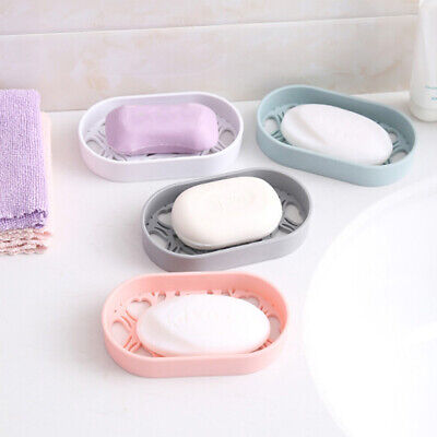 Soap Dishes Dispenser Case Holder Drain Container Colorful Bathroom Supply BS