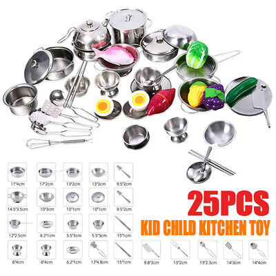 25pcs Kid Child Baby Kitchen Accessory Toy food Pretend Role Play Cooking Gifts