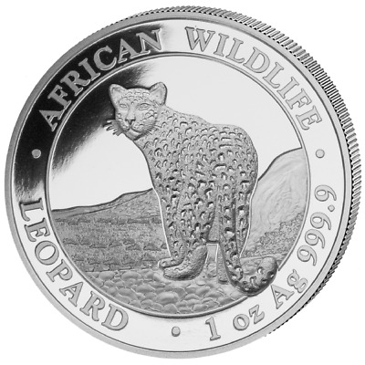 Somalia Leopard 2018 1 OZ Ounce .9999 Silver African Wildlife series in capsule