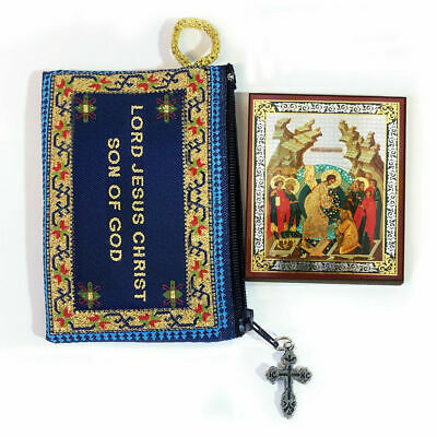 Tapestry Jesus Prayer Pouch 2 Sided With Mini Icon Crucifixion of Jesus Christ