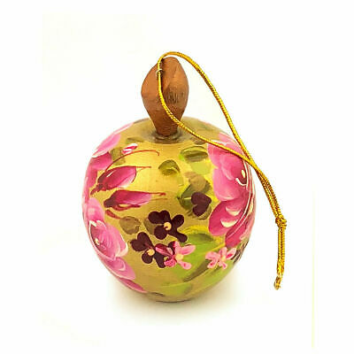 Apple Gold Color - Hand Painted Russian Wooden Christmas Ornament  2 1/2 ""