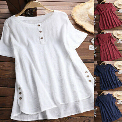 Women Summer Tunic Tops Ladies Short Sleeve Plain T-Shirt Blouse Plus Size 16-24