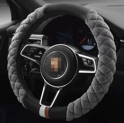 38cm Genuine Leather Soft Plush DIY Car Steering Wheel Cover Warm Interior Gray