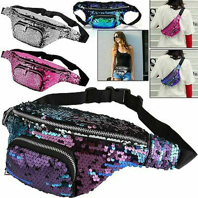Glitter Sequin Bum Bag Travel Waist Fanny Pack Festival Money Belt Wallet Pouch