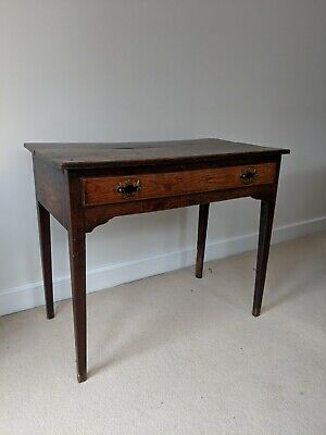 Dark antique wood table small
