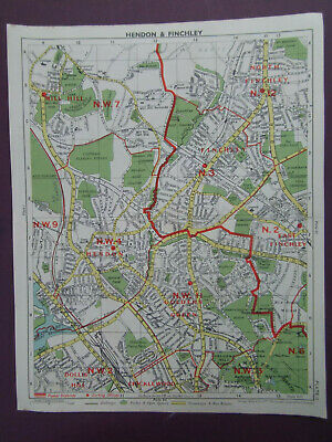 """LONDON HENDON FINCHLEY MILL HILL GOLDERS GN  VINTAGE MAP G PHILIP DATE 194810x8"""""""