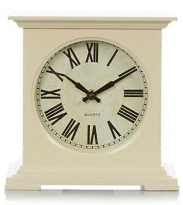 Large Cream Square Roman Numeral Traditional Wooden Mantel Mantle Clock 21cm H