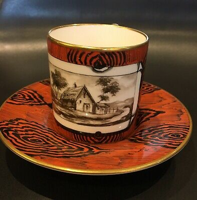 French Antique Tiffany Cup And Saucer Hand Painted And Signed By Artist