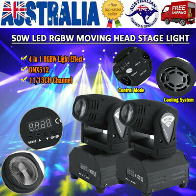 2PCS RGBW Stage Light Beam LED Moving Head Lights DMX Disco DJ Bar Party Lamp