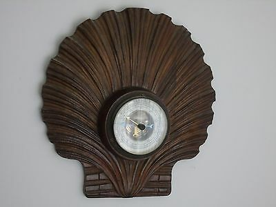 art deco rare aneroid wall barometer walnut black forest antique shell carved