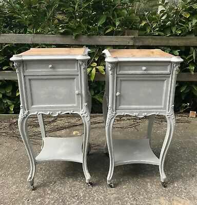 Pair French Antique Louis Pot Cupboards / Bedside Cabinets Painted French Grey