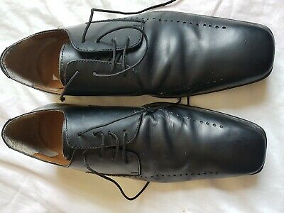 Mens Lotus Black Lace Up Shoes Size 9