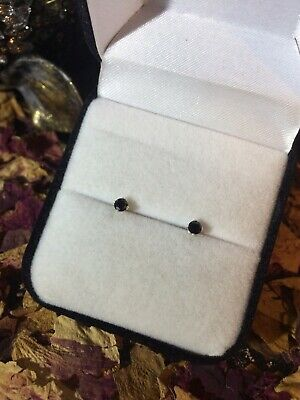 Shiny natural Black Onyx 4mm round faceted sterling silver stud earrings ◼️