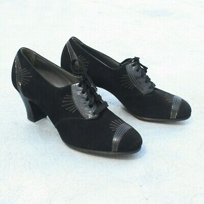 1930s Black Suede Leather Heels Size 8.5  Art Deco Pumps 1940s Women's Shoes