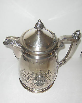 Rare Large Antique Vintage Parker Casper Silver Plate Ice Water Pitcher Special