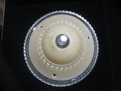 "Vintage Art Deco Frosted & Clear Glass 3 Hole Hanging Ceiling Light Shade 10""D"