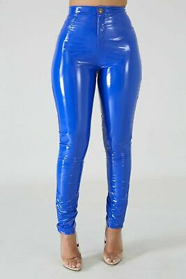 Damen Vinyl Glanz Wetlook Hose, blau  2XL  NEU   PVC Shiny Pants Lack
