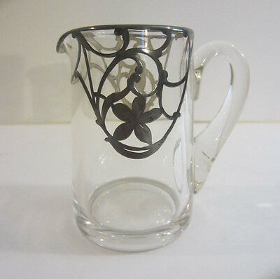 """Vintage Silver Overlay Glass Creamer Pitcher Applied Handle 3 1/2""""H. Very Pretty"""