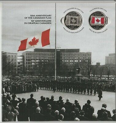 2015 2x 25 Cent 50th Anniversary of Canada Flag on Collector Card